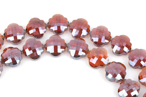10 AMBER QUATREFOIL Crystal Glass Beads, checkerboard faceted,  20mm, bgl1350