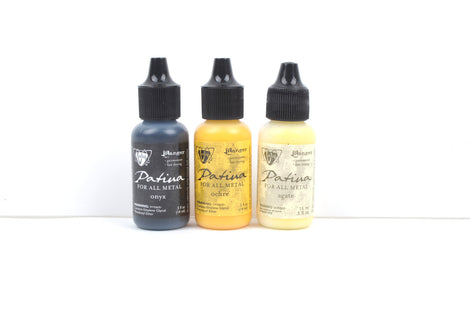 Set of 3 Patina for All Metal, Vintaj Ranger, RETRO HIGHWAY, 1/2 oz. bottles in shades of black, yellow, cream, pnt0001