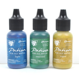 Set of 3 Patina for All Metal, Vintaj Ranger, FADED PICKUP, 1/2 oz. bottles in shades of blue, green, yellow, pnt0003