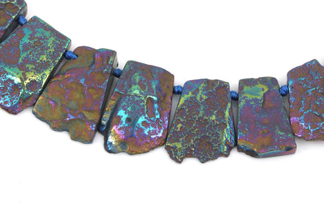Titanium Quartz Gemstone Beads, RAINBOW METALLIC, Trapezoid shape top drilled, 28-45mm tall, full strand, 16-17 beads gqz0093