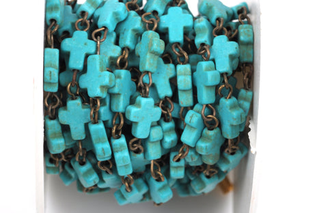 1 yard TURQUOISE HOWLITE CROSS Bead Rosary Chain, gemstone chain, bronze gold links, 10x8mm cross gemstone beads, fch0372a