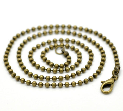 "12 Bronze BALL CHAIN Necklaces, lobster clasp, 30"" long 2.4mm, FCH0389"