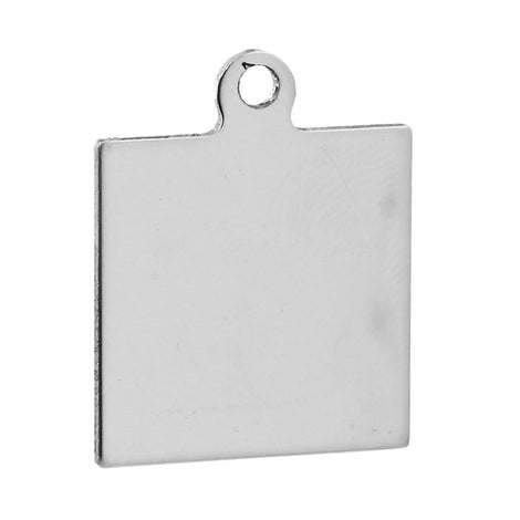 5 Silver Stainless Steel Square Stamping Blanks, Jewelry Tags, Pendants, 25x20mm, 18 gauge, msb0309