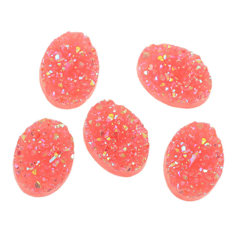 10 Oval Resin AB Coral Pink DRUZY CABOCHONS, faux druzy, 18x13mm  cab0413