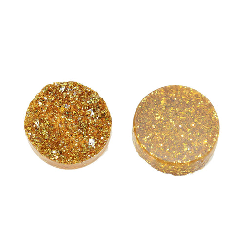 10 Round Resin Sparkly Gold DRUZY CABOCHONS, faux druzy, 12mm  cab0414