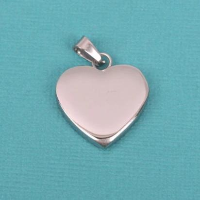 "1 Silver Stainless Steel HEART Metal Stamping Blank Charm Pendant with Bail, 22mm wide (7/8"") very thick gauge msb0311"