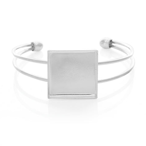 "1 BANGLE Cuff Bracelet with 25mm (1"") Square Bezel Tray, silver plated metal, for Cabochon Setting, 25mm (1 inch) fin0549a"