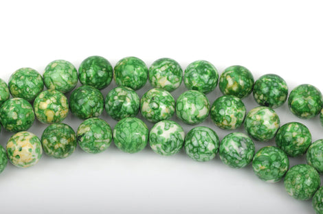 6mm MOSAIC HOWLITE Round Beads, green, yellow, white, full strand, about 63 beads, how0490