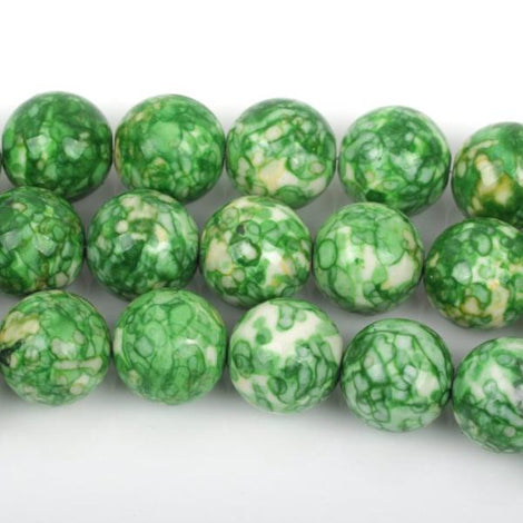 4mm MOSAIC HOWLITE Round Beads, green, yellow, white, full strand, about 97 beads, how0499