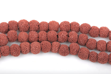 8mm RUST RED LAVA Beads, Perfume Diffuser Beads, Essential Oil Beads, full strand, 50 beads per strand, glv0013