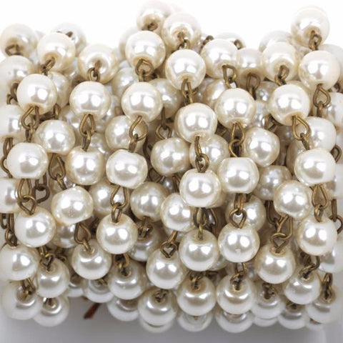 13 feet (4.33 yards) Ivory Off-White Pearl Rosary Chain, bronze wire, 8mm round glass pearl beads, fch0425b