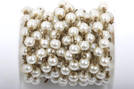 1 yard Ivory Off-White Pearl Rosary Chain, bronze wire, 8mm round glass pearl beads, fch0425a