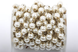 11 feet (3.67 yards) Ivory Off-White Pearl Rosary Chain, bronze wire, 10mm round glass pearl beads, fch0427b
