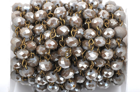 1 yard MUSHROOM BROWN TAUPE Crystal Rondelle Rosary Chain, bronze, 8mm faceted rondelle glass beads, fch0428a