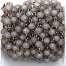 13 feet (4.33 yards) FROSTED GREY Crystal Rondelle Rosary Chain, bronze, 6mm faceted rondelle glass beads, fch0431b