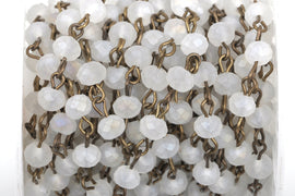 13 feet (4.33 yards) FROSTED WHITE Crystal Rondelle Rosary Chain, bronze, 6mm faceted rondelle glass beads, fch0432b