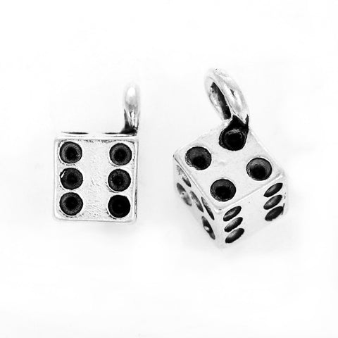 10 DICE charm pendants, silver metal, 11x11mm, chs2395
