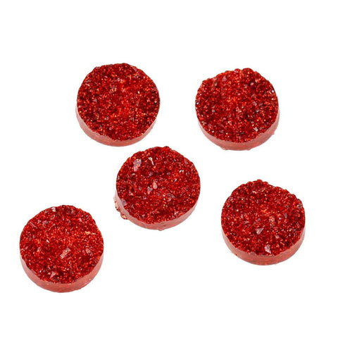 10 Round Resin Metallic Bright RED DRUZY CABOCHONS, faux glitter druzy, 12mm, cab0431