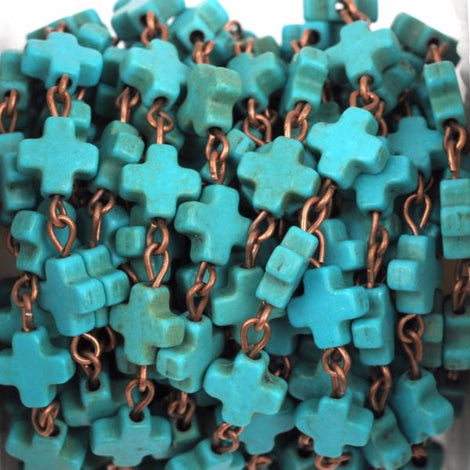 13 ft (4.33 yards) spool TURQUOISE HOWLITE Maltese CROSS Bead Rosary Chain, gemstone chain, copper links, 8mm round gemstone beads, fch0375