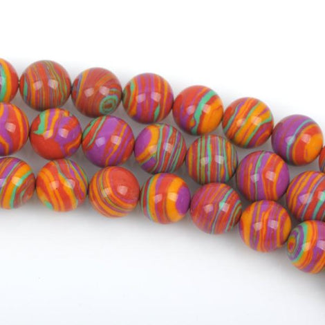 14mm Round RAINBOW Beads, Composite Stone, full strand, about 29 beads, gmx0038