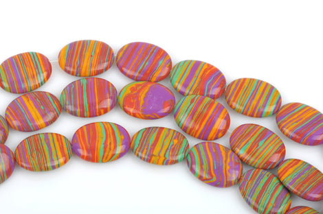 20x15mm OVAL RAINBOW Beads, Composite Stone, full strand, 20 beads, gmx0052