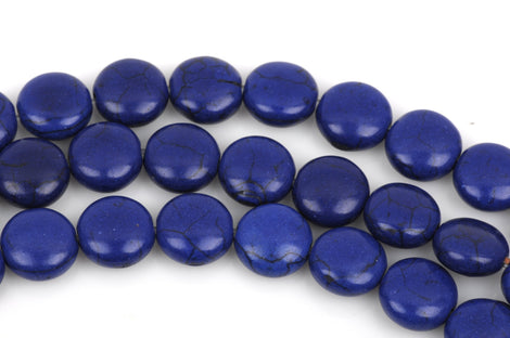 14mm ROYAL BLUE Howlite Round Coin Beads, full strand, 27 beads, how0442