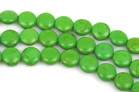 14mm KELLY GREEN Howlite Round Coin Beads, full strand, 27 beads, how0443