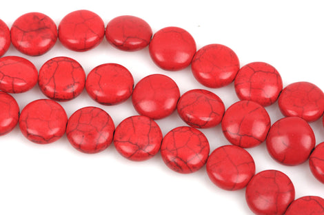 12mm RED Howlite Round Coin Beads, full strand, 33 beads, how0450