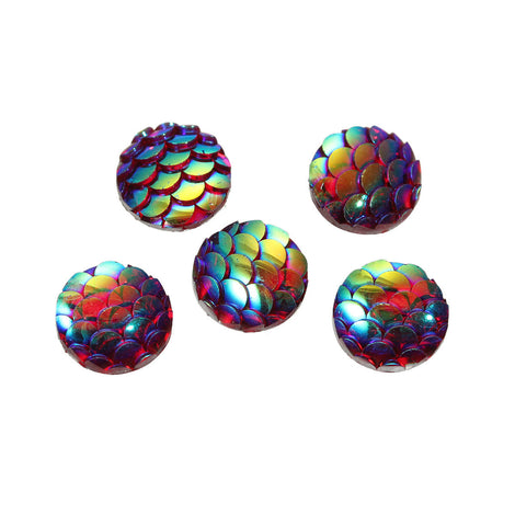 "10mm MERMAID FISH SCALE Cabochons, Round Resin Metallic, red iridescent,  10 pieces, 3/8""  cab0399"