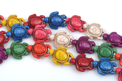 "1 Strand 15.5"" Mixed Bright Colors Stone TURTLE Carved Gemstone Beads . 24 beads  how0461"