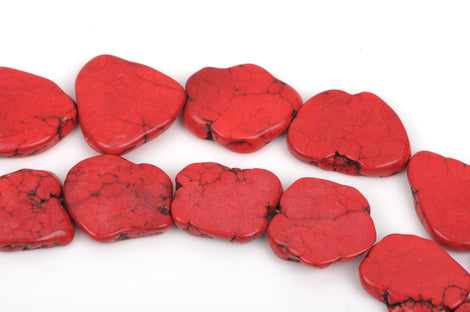 "RED HOWLITE Slab Shape Gemstone Beads, magnesite, about 1"" to 1-1/2"" full strand, about 12-13 beads, how0462"
