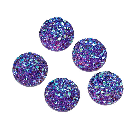 10 Round Resin PURPLE RAINBOW Glitter DRUZY Cabochons, faux druzy, 12mm  cab0447