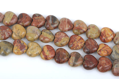 12mm Gold Lace Agate Puffed HEART Beads, full strand, about 33 beads, gag0249
