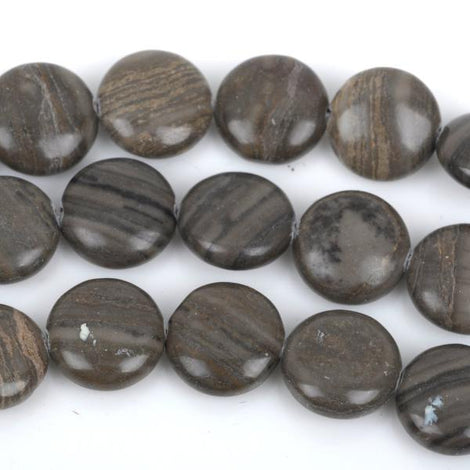 12mm Zebra Agate COIN Beads, full strand, about 33 beads, gag0253