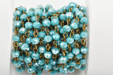 1 yard (3 feet) TURQUOISE BLUE AB Crystal Rondelle Rosary Chain, bronze, 6mm faceted rondelle glass beads, fch0446a