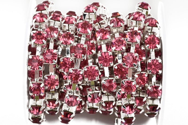 1 yard ( 3 feet ) Rhinestone Cup Chain, large 8mm rhinestones, bright silver base metal and PINK glass crystals fch0447