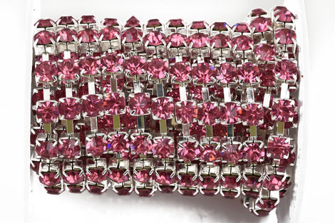 1 yard ( 3 feet ) Rhinestone Cup Chain, large 6mm rhinestones, bright silver base metal and PINK glass crystals fch0448