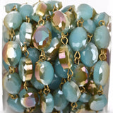 8 feet spool TURQUOISE BLUE Rainbow AB Crystal Rondelle Rosary Chain, bronze links, 12x9mm faceted oval glass beads, fch0452
