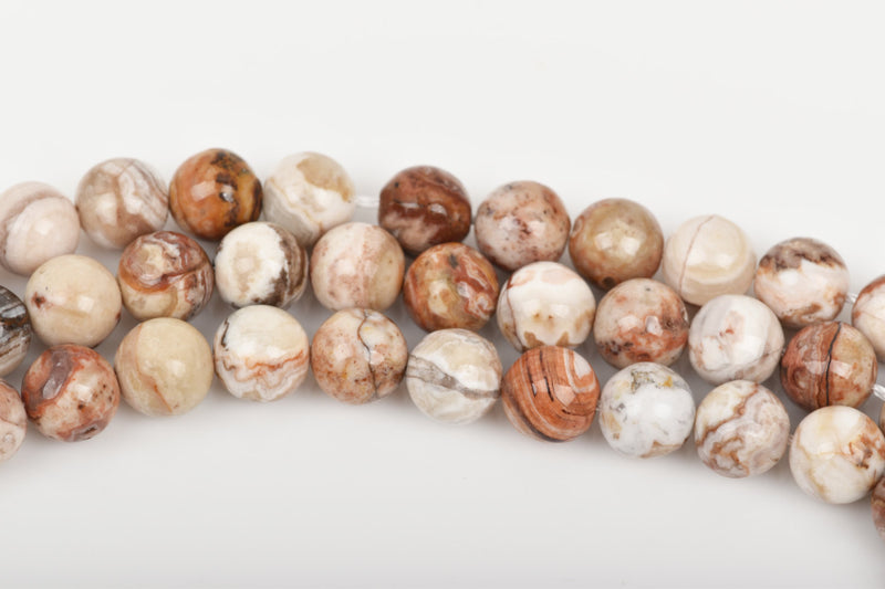 6mm CARAMEL AGATE Round Gemstone Beads, natural, brown, tan, white, rust, grey, full strand, about 67 beads, gag0268