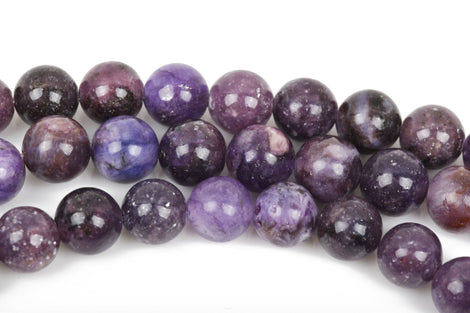 8mm DARK PURPLE LEPIDOLITE Round Gemstone Beads, lots of pretty chatoyance, full strand, about 45 beads, gms0031