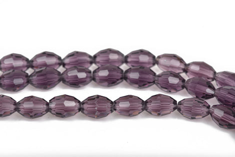 8mm Oval Rice Crystal Beads, Faceted AMETHYST PURPLE Transparent Glass Crystal Beads, 72 beads, bgl1455