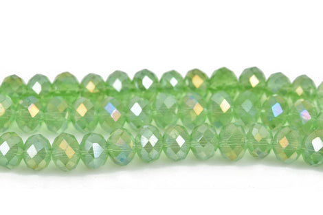 8mm Rondelle Crystal Beads, Faceted PERIDOT GREEN AB Transparent Glass Crystal Beads, 72 beads, bgl1478