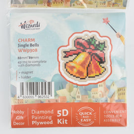 Christmas Bells Ornament Kit, Diamond Painting DIY, kit0437