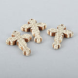 "1 White Howlite Gothic Cross Pendant Beads, Laser Engraved, drilled front to back, 1-3/4"" long las0001"