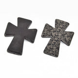 1 Laser Engraved BLACK Howlite Gothic Cross Pendant Beads, drilled top to bottom, 50mm x 40mm LAS0004