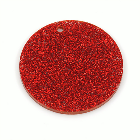 "10 RED GLITTER 3"" Circle Keychain Blanks Laser Cut Acrylic Blanks Disc Lca0200a"