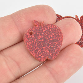 "10 RED Glitter 1"" Apple Charms Laser Cut Acrylic Blanks Lca0789a"