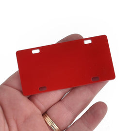 "2 Red Mini License Plate Laser Cut Acrylic Blanks for Vinyl, 3"" x 1.5"", Lca0805a"