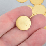 "20 Raw Brass Sheet Metal Stamping Blanks, CIRCLE DISC shape, no hole, 16mm (5/8"")  22 gauge msb0055"