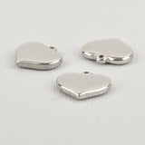 4 Heavy Stainless Steel Metal Stamping Blanks Charms, Thick HEART shape, 12 gauge . MSB0088